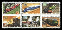 Lot 2769:1993 Trains BW #1661c se-tenant block of 6.
