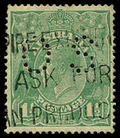 Lot 224:1½d Green Die I - BW #88ba perf 'OS', Cat $15.