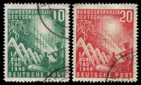Lot 3808:1949 Bonn Parliament Mi #111-2 set of 2, Cat €55, 10pf has a pulled perf at base.