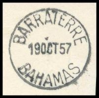 Lot 17813 [3 of 3]:Barraterre: 'BARRATERRE/19OCT57/BAHAMAS' (A1- backstamp) on 1½d & ½d QEII Pictorials.