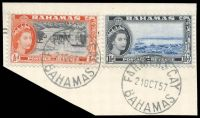 Lot 17815:Farmers Cay: 'FARMERS CAY/21OCT57/BAHAMAS', on 1½d & ½d QEII Pictorials.