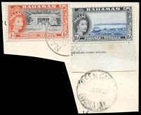 Lot 17819:Green Castle: 'GREEN CASTLE/5NOV57/BAHAMAS', on 1½d & ½d QEII Pictorials.