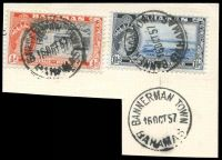 Lot 17812:Bannerman Town: 'BANNERMAN TOWN/16OCT57/BAHAMAS', on 1½d & ½d QEII Pictorials.
