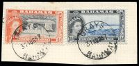 Lot 17818:Grays: 'GRAYS/31AUG57/BAHAMAS', on 1½d & ½d QEII Pictorials, some slight toning.
