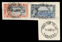 Lot 17821:Harbour Island: 'HARBOUR ISLAND/17AUG56/BAHAMAS', on 1½d & ½d QEII Pictorials