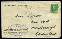 Lot 892:1942 use of 1½d green KGVI, cancelled with poor Goulburn machine, on OHMS Dept. of Army cover to Maryborough, with double-oval 'AREA/3A.../GOULBURN' (A1) in purple, some mild toning.