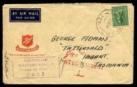 Lot 883:Aust Army P.O. 'AUST ARMY P.O./20SE44/229.' (Fenton, NT), on 4d Koala, on Salvation Army air cover to Tatts with boxed 'AUSTRALIAN/MILITARY FORCES/PASSED BY CENSOR