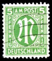 Lot 22663:1945 German Printing: Mi #19D 5pf emerald, P11½, Cat €75, BLC has slight crease.
