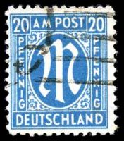 Lot 22664:1945 German Printing: Mi #26bB 20pf cyan, P11½x11, Cat €25, some slight toning.