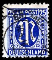 Lot 22665:1945 German Printing: Mi #28B 25pf lilac-ultramarine, P11x11½, Cat €30.