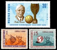 Lot 2 [3 of 3]:1962 World Cup Soccer: Chile 5c green, Albania set of 2 & Hungary 20f Jules Rimet & m/s.