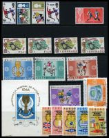 Lot 3:1966 World Cup Soccer: GB set of 3 + Winners opt, Fiji set of 2, Grenada set of 2, Dubai set of 5, CTO, Maldive Islands 2l, Panama set of 5, CTO & Romania m/s.
