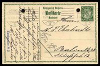 Lot 22455:1914-16 Bordered Card With Arms HG #95 5pf green, reply half, with control number '14', cancelled with 'NÜRNBERG/14.11.14 7-8N/2' (A1) machine, to Berlin, filing holes.