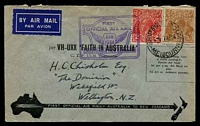 Lot 819 [1 of 2]:1934 Australia - New Zealand AAMC #369 bearing 5d brown & 2d red KGV, Cat $60, cancelled with 'SHIP MAIL ROOM/1P7AP34/MELBOURNE' (A1-) on printed cover with double boxed official cachet in purple, backstamped with 'WELLINGTON/C.I./12AP34.3-PM/N.Z' (A1) arrival.