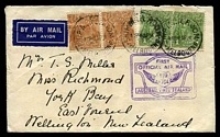 Lot 5213 [1 of 2]:1934 Australia - New Zealand AAMC #369 bearing 5d brown x2 & 1d green KGV x2, Cat $60, cancelled with 'SHIP MAIL ROOM/1P7AP34/MELBOURNE' (B1) on cover with double boxed official cachet in purple, backstamped with 'WELLINGTON/C.I./12AP34.3-PM/N.Z' (A1-) arrival, light vertical crease.