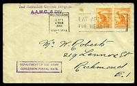Lot 657:1940 use of ½d roo x2, cancelled with 'MELBOURNE/15APR/430AM/1940/VICTORIA - EAT APPLES/FOR HEALTH' (A1-) machine, on cover to Richmond, with straight-line '2nd Australian General Hospital/A.A.M.C., 6 DIV.' (A1-) in purple & boxed 'DEPARTMENT OF THE ARMY/CONCESSION POSTAL RATE' (A1) in purple, some mild tone spots.