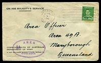 Lot 4760:1942 use of 1½d green KGVI, cancelled with poor Goulburn machine, on OHMS Dept. of Army cover to Maryborough, with double-oval 'AREA/3A.../GOULBURN' (A1) in purple, some mild toning.