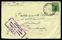 Lot 640:Army Post Office 'ARMY POST OFFICE/16MR45/066.' (Winnellie APO, NT) on 4d Koala on Tatts cover, with boxed 'AUSTRALIAN/MILITARY FORCES/PASSED BY CENSOR/855' (B1) in purple.