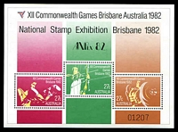 Lot 3476:1982 XII Commonwealth Games, Brisbane 81c miniature sheet, overprinted for 'ANPEX 82', BW #971.