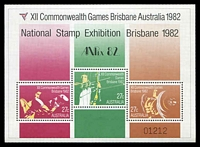 Lot 3475:1982 XII Commonwealth Games, Brisbane BW #971 81c miniature sheet, overprinted for 'ANPEX 82'.