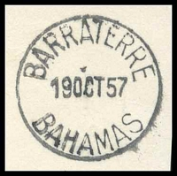 Lot 19285 [3 of 3]:Barraterre: 'BARRATERRE/19OCT57/BAHAMAS' (A1- backstamp) on 1½d & ½d QEII Pictorials.