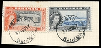 Lot 19291:Grays: 'GRAYS/31AUG57/BAHAMAS', on 1½d & ½d QEII Pictorials, some slight toning.