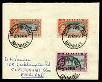 Lot 3132:Industrious Hill: 'INDUSTRIOUS HILL/27NOV64/BAHAMAS', on 4d green & magenta with ½d black & red-orange x2 on cover to Cheltenham, England.