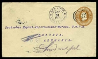 Lot 20309 [1 of 2]:1905 use of 10c light brown envelope (H&G #B6a), cancelled with 4 concentric circles, with double-circle 'SAN JOSE/AGO/31/1905/COSTA RICA', backstamped with double-circle 'CÖLN/19.9.05.12-1N/*(RHEIN)1*' (A1).