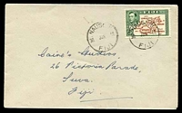 Lot 3475:Nausori: 'NAUSORI/30JUN52/FIJI' on 2½d brown & green map on cover to Suva  PO c.1890.
