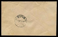 Lot 3477 [2 of 2]:Vunisea: 'P.O. VUNISEA/18OC41/FIJI' on 2½d on 2d Map on Jackson cover to New Zealand. [Rated 400 by Proud.]  Replaced Tavuki PO 19/2/1910.