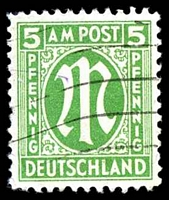 Lot 19749:1945 German Printing: Mi #19D 5pf emerald, P11½, Cat €75, BLC has slight crease.