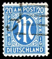 Lot 19751:1945 German Printing: Mi #26bB 20pf cyan, P11½x11, Cat €25, some slight toning.