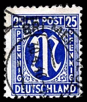 Lot 19752:1945 German Printing: Mi #28B 25pf lilac-ultramarine, P11x11½, Cat €30.