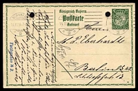Lot 21537:1914-16 Bordered Card With Arms HG #95 5pf green, reply half, with control number '14', cancelled with 'NÜRNBERG/14.11.14 7-8N/2' (A1) machine, to Berlin, filing holes.