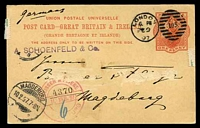 Lot 22370:1892 QV Full Length HG #21 1d vermilion on buff, Huggins & Baker #CP27, cancelled with 'LONDON/6PM/FE9/97 - 105' (A1-), with 'MAGDEBURG/10.2.97.7-8N/* ? p