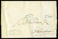 Lot 4241:1851 large stampless entire with oval 'R