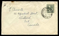 Lot 4103:1939 use of 8c grey, cancelled with double-circle 'PARIT BUNTAR/10AM/15AP/1939/F.M.S.' (A1-) on cover to Welland, Canada, slight toning at top edge.