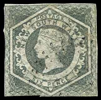 Lot 1055:1854-59 Imperf Large Diadems Wmk Double-Lined Numeral SG #94 6d grey, 3-margins, Cat £55.