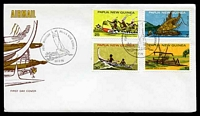 Lot 23470:1975 Heritage Canoes set of 4 on unaddressed illustrated FDC, cancelled with 'PORT MORESBY PAPUA NEW GUINEA/[canoe]/26.2.75' (A1).