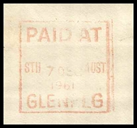 Lot 9279 [2 of 2]:Glenelg: 'PAID AT/STH 7DEC AUST/1961/GLENELG - PLEASE POST EARLY/BEFORE LUNCH &/BEFORE FOUR O'CLOCK' machine in red on window envelope, some toning.  PO 5/12/1849.