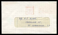 Lot 8326 [1 of 2]:Hindmarsh: 'HINDMARSH/STH/---/1MAY/1961/AUST/PAID - PLEASE POST EARLY/BEFORE LUNCH &/BEFORE FOUR O'CLOCK' machine in red on window envelope.  PO 29/1/1847.