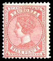 Lot 1954:1886-96 New Stamp Duty Designs Wmk 2nd V/Crown SG #320 9d carmine-rose, Cat £40, mild thin.