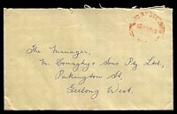 Lot 2584:Geelong (1): - WWW #1950D red 'PAID AT GEELONG/3½D26SE56■/VIC', (arcs 6,6), on cover to Geelong West. [Rated R]  PO c.-/6/1840; replaced by Geelong Business Centre BC 22/7/1994.