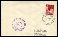 Lot 17585:Wilkes: 'WILKES/A.N.A.R.E/1FE59/AUST. ANTARCTIC TERR.' on cover with 3½d Christmas, also bearing 'AUST. ANTARCTIC TERR./[seal]/OPENING OF/WILKES POST OFFICE' (A1) cachet in purple, neat typed address.
