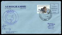 Lot 19804:Casey: 'AUSTRALIAN NATIONAL ANTARCTIC RESEARCH EXPEDITIONS/[tent]/17FEB1998/CASEY' on 55c First Flight Anniversary on autographed Aerogramme with double circle 'CASEY/[map]/ANTARCTICA' (A1).