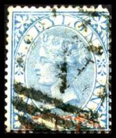 Lot 20574:1866-68 Wmk Crown/CC Perf 14 SG #61 1d blue, Cat £10.