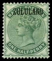 Lot 4558:1888-93 Stamps of Natal SG #12 ½d dull green, Opt with stop, Cat £55, heavy hinge fragment.
