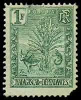 Lot 4377:1903 Zebu & Lemur SG #50 1f deep green, Cat £60, torn BRC, slight thin at top.