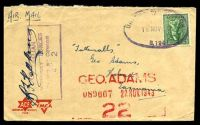 Lot 905:Unit Postal Station double-oval 'UNIT POSTAL STATION/18NOV1943/S.194' (103 Tank A/T Regt, NT) in purple on 4d Koala on ACF air cover to Tatts with boxed 'AUSTRALIAN/MILITARY FORCES/PASSED BY CENSOR/4?