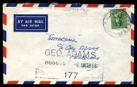 Lot 5587:R.A.N. Post Office 'R.A.N. POST OFFICE/8JE56/NUMBER 3.' on 4d Koala on air cover to Tatts with straight-line 'H.M.A. SHIPS' (A2-).
